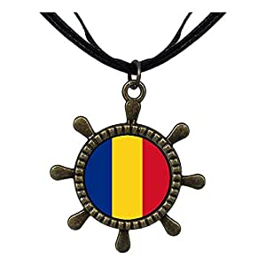 Chicforest Bronze Retro Style Romania flag Ship Steering Wheel Pendant