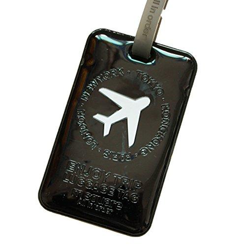 M square Airplane Luggage Tag (Shiny Black) (Square Luggage Tag)