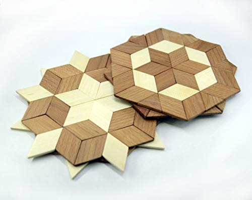 SPL Woodcraft Set of 2 Wooden Trivet for Hot Dishes - Compact and Light - Mix of Beechwood and Ash - Handmade Mosaic - Big Coaster - 6 inch. - Unique Art Decor in the Kitchen - Made in Ukraine
