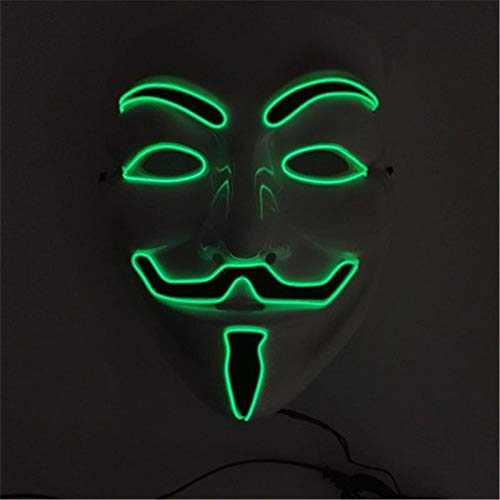 2018 Hot Sale EL Mask Flashing Cosplay LED MASK Halloween Costume Anonymous Mask for Glowing Dance Carnival Party Masks(Random ratten) ()