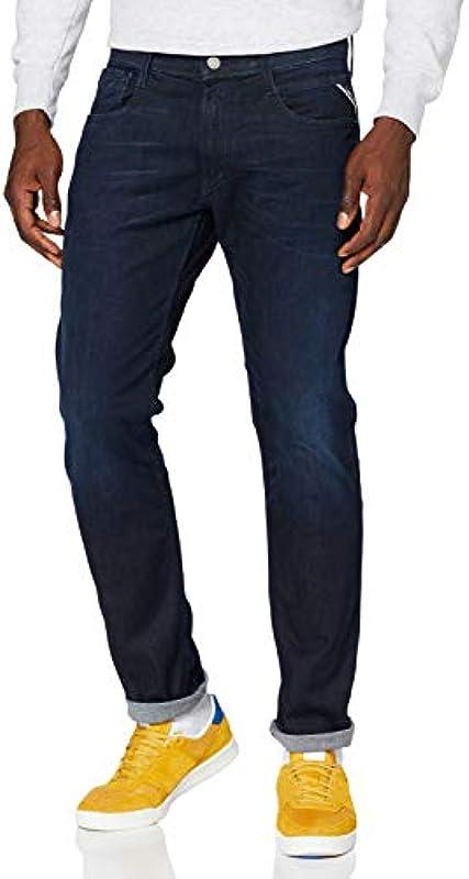 Replay Męskie dżinsy Anbass 7 Dark Blue, 32/34: Odzież