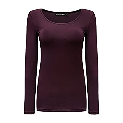 OThread & Co. Women's Long Sleeves T-Shirt Scoop Neck Plain Basic Spandex Tee