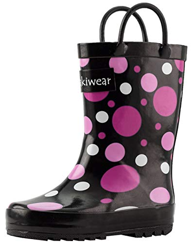 OAKI Kids Rubber Rain Boots with Easy-On Handles, Purple Polka Dot, 12T US Toddler, Purple Polka Dot