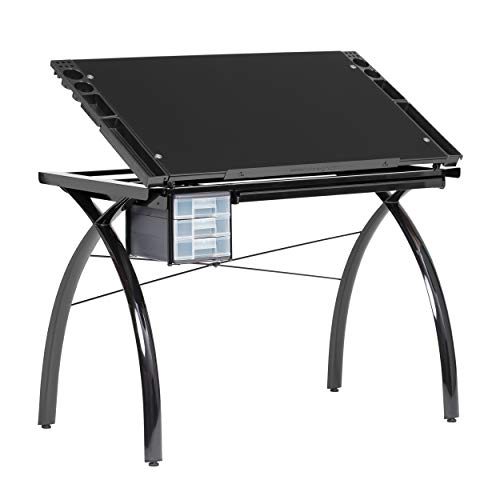 Studio Designs Futura Modern Metal and Glass Hobby, Craft, Drawing, Drafting Table, Desk with 38''W x 24''D Angle Adjustable Top in Black / Black Glass