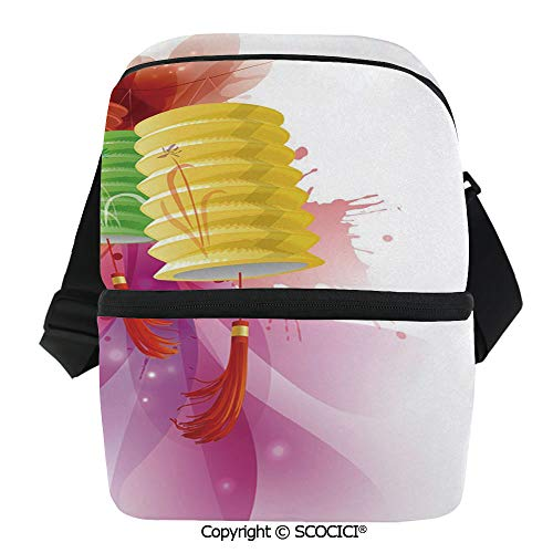 SCOCICI Collapsible Cooler Bag Mid Autumn Celebration Singapore China East Culture Festival Candles Happiness Decorative Insulated Soft Lunch Leakproof Cooler Bag for Camping,Picnic,BBQ ()
