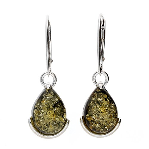 KAB Green Baltic Amber Sterling Silver 925 Beauty Earrings 7