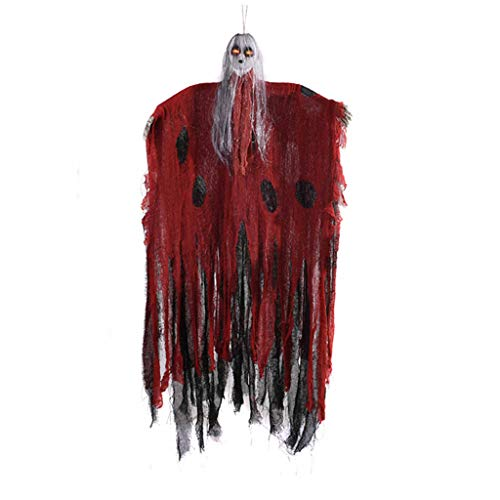 Unionm Halloween Toys, Halloween Props, Cap Gauze Female Ghost DIY Hanging Decoration Voice Control Pendant Toys Haunted House Decoration for Home Yard Outdoor Indoor Party Bar (Red)