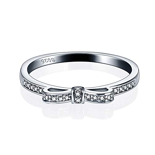 925 Sterling Silver Bow Ring, Silver CZ rings for Women and Girls' Fashion in Size6/ 7/8/ 9/10 ()