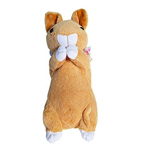 Mily Kid's Cute Soft Plush Toys Pencil Case Pencil Holder Pen Case for School Children Students (Khaki Bunny)