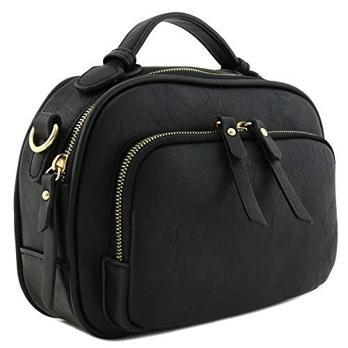 Top Handle Mini Satchel Bag Crossbody Purse Black