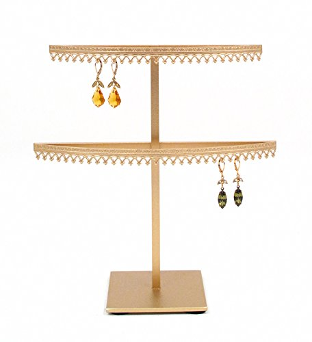 Tier Earring 2 (Royal Crown Display 2 Tier earring organizer stand with crown molding - Gold)