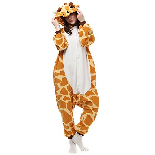 luyao188 Unisex Adult Pyjamas Halloween Costume One Piece Animal Cosplay Onesies Giraffe L