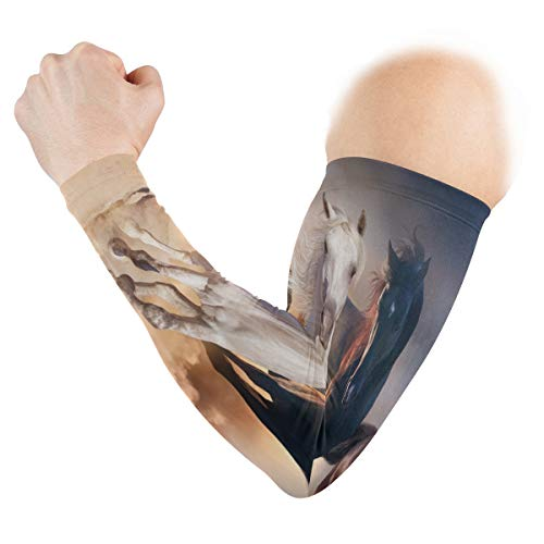 UV Sun Protection Sleeves Abstract Oil Painting Horses On Desert Cuffs Cover for Men Women Sports Running Golf Cycling Driving Arm Protection 1 Pair