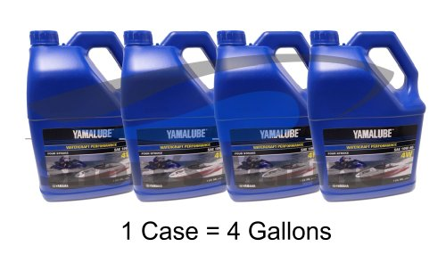 (Yamaha New OEM WaveRunner Boat Oil Case of 4 Gallons 10W-40 4W LUB-10W40-WV-04 )