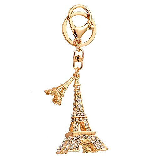 JewelBeauty 3D Cubic French Paris Eiffel Tower Shaped Bling Bling Metal Crystal Rhinestone Keychain Souvenir Holiday Gift Car Phone Purse Bag Decoration (Rose Gold)