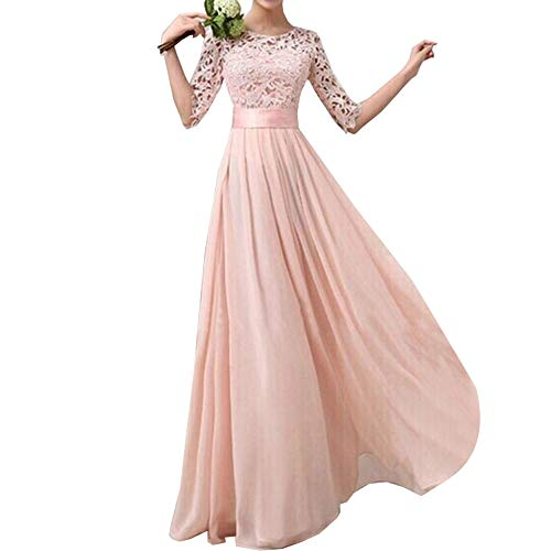 Eiffel Women's Lace Chiffon A-Line Long Maxi Dress Evening Wedding Bridesmaid Gown (Large, Pink)