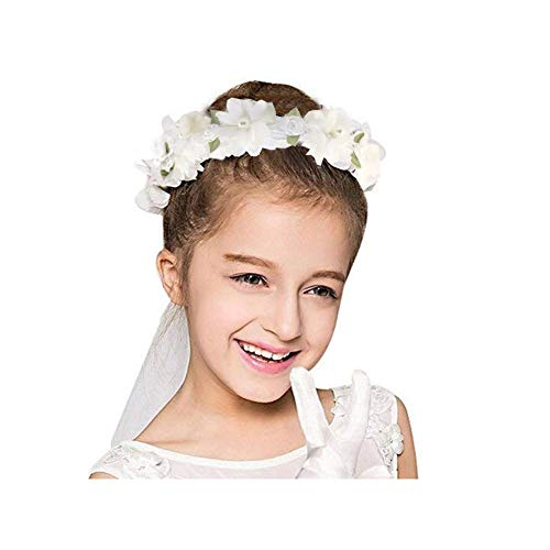 Apregies Flower Girls Catholic Religious First Communion Veil Floral Wreath Wedding Veil White