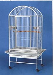 New Large Parrot Bird Wrought Iron Cage 28x20x60 Dome-Top *Egg Shell White*