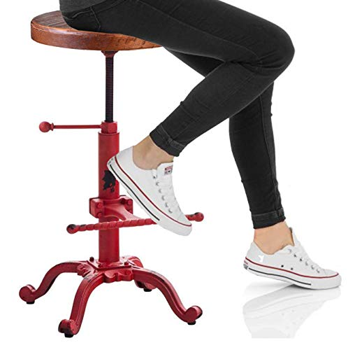 Topower Industrial Retro Vintage Farm Wooden Tractor Stool Kitchen Swivel Height Adjustable bar Stool Antique Red