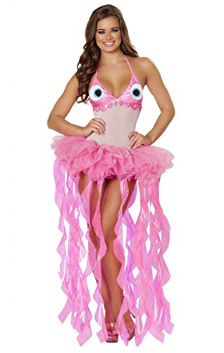 [Sexy Ruffle Pink Monster Lady Halloween Costume] (Rave Monster Costume)