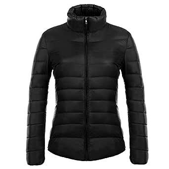 KINDOYO Women's Winter Down Puffer Jacket Coat Packable Ultra Light Weight, Black