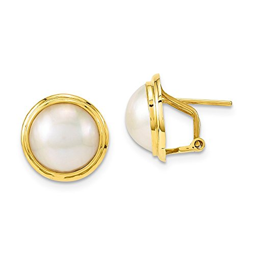 14k Yellow Gold 10-11mm Freshwater Cultured Mabe Pearl Omega Back Earrings (0.7IN x 0.7IN) (Pearl Gold Yellow Mabe 14k)