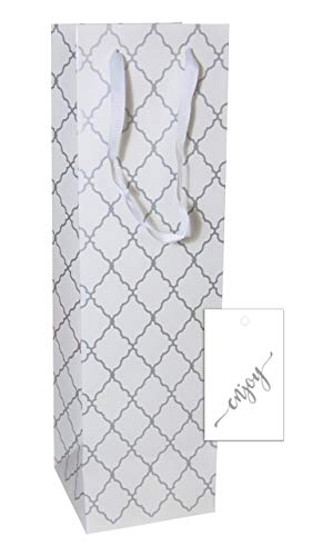 (Wine Bags with Hang Tags | 12 Sets (White Diamond))