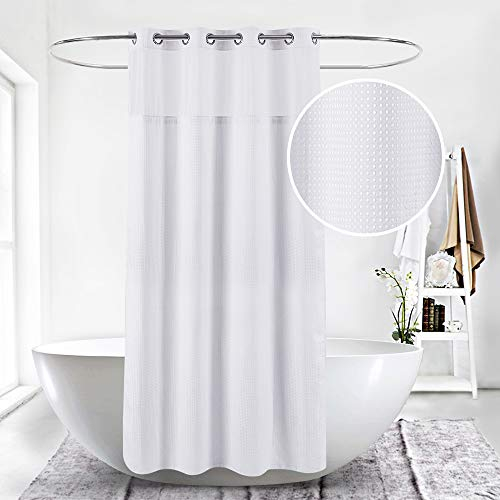 HappyBath Extra Long 71x79 Hookless White Waffle Fabric Shower Curtain for Bathroom with Removable Polyester Liner-100% Waterproof