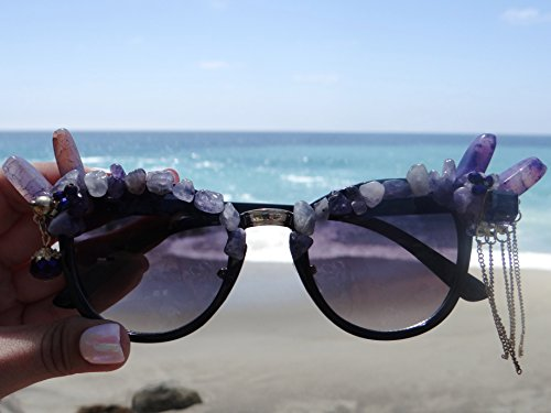 Mardi Gras Sale! Amethyst Goddess Sunglasses by Star Stuff Boutique, Hand Made Purple stone eyewear, Jeweled design, Decorated style, festival wear for EDC - Burning Man - Sunglasses Goddess