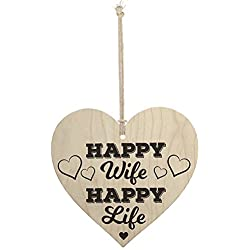 Meijiafei Happy Wife Happy Life Novelty Wooden Hanging Heart Love Plaque