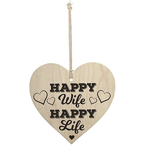 Meijiafei Happy Wife Happy Life Novelty Wooden Hanging Heart Love ()