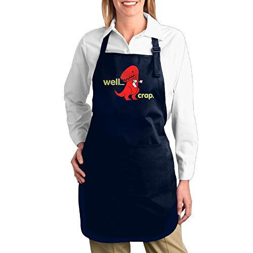 Super Barista Costume (Dogquxio Well Crap Dinosaur Kitchen Helper Professional Bib Apron With 2 Pockets For Women Men Adults Navy)