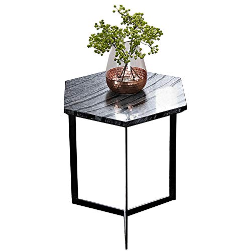Tables ZR- Hexagon Marble Side Coffee Corner Display Stand Bedside Furniture (Color : Black)
