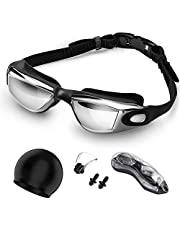 Jasonwell Googles for Swimming Goggles Anti Fog and UV Protection Swimming Goggles with Flexible Tip Bridge, Bathing Cap and Earplugs for Adult Men Women Junior…