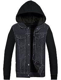 Mens Denim Jacket With Hoodie Fleece Jersey Sleeves Hoody Coat