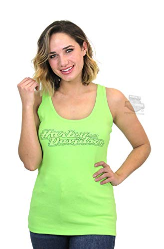 Harley-Davidson Womens Melon Rhinestone HD Name Neon Green Tank (2X)