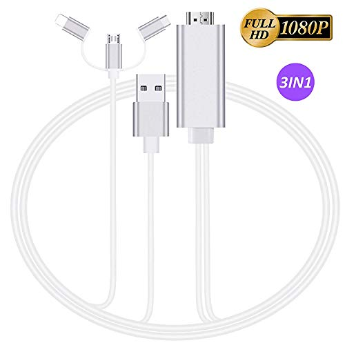 3 in 1 Out HDMI Cable Adapter,AOKEN 1080P Micro USB/Type-C to HDMI Adapter Compatible with Samsung S8/9/Note 8/9,P20, Mate 20 and More, Mirror Mobile Phone Screen to TV/Projector/Monitor [mirroring]