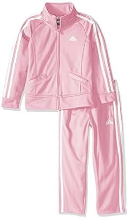 adidas Toddler Girls' Tricot Zip Jacket and Pant Set, Light Pink Basic, 2T