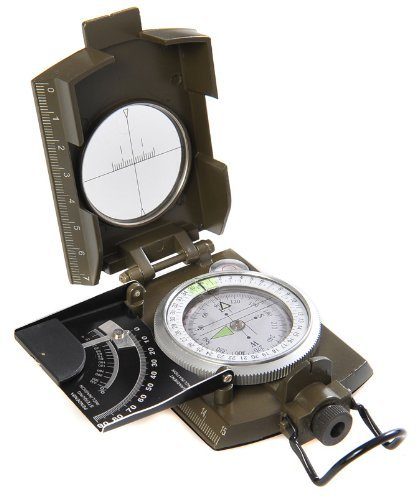 Huntington MG-XL Military Bearing / Lensatic Compass, premium quality and metal casing in XL size, new feature: inclinometer slope gradient in degrees and percent, professionally liquid-dampened, with Bearing Prism / Lens System - Military Green (K4074 US