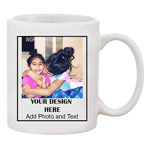 Add Your Own Text Design Custom Personalized White Coffee Mug (White, 15 oz) ()