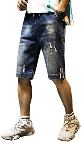 QZH.DUAO Men's Elastic Waist Distressed Ripped Drawstring Denim Jean Shorts, 0# Dark Blue, 38 ()