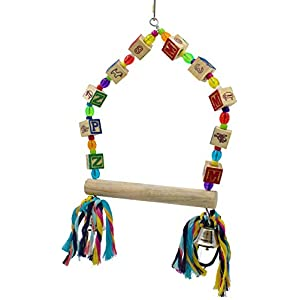 Bonka Bird Toys 1136 Medium ABC Swing Bird Toy Parrot cage perches Cages Cockatiel Conure caiques Parakeets Budgie parrotlet Swings Perch 49
