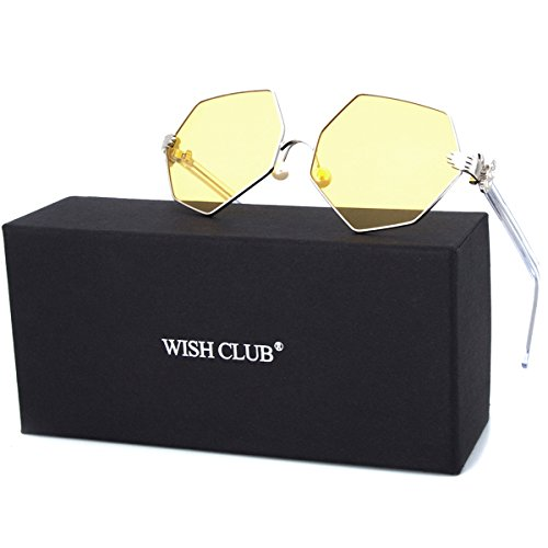 WISH CLUB Fashion Polarized Sunglasses for Women Mirrored Lens for Girls Horn Rimmed Eyewear with UV 400 and Metal Frame Glasses (Yellow) - Horn Eyewear