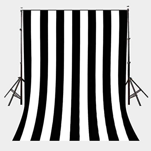 LYLYCTY 5X7ft Polyester Photography Background Black and White Vertical stripes Backdrops Birthday wedding Adults Party banner photo Studio Props LYGE641 ()