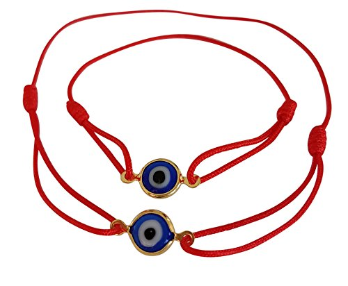 Lucky Charms USA Red Mommy and Me Set of 2 -Sliding Knot Evil Eye Bracelet for Protection, Mal De Ojo