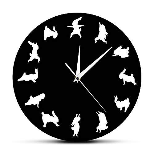 The Geeky Days Yoga Bunnies Wall Clock Happy Bunny Pose Yoga Rabbits Iconic Clock Modern Wall Clock Funny Animal Bunny Wall Art Clock 12