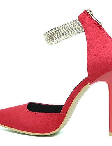 GGX/Damen Schuhe Wildleder Frühjahr/Herbst Spitz Zulaufender Zehenbereich Heels Party & Abend Stiletto Heel Reißverschluss Blau Pink Rot/Grau/Khaki black-us6.5-7 / eu37 / uk4.5-5 / cn37