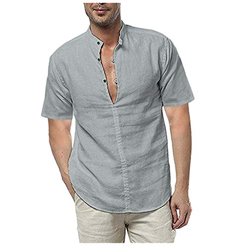 Fastbot Men Shirts Short Sleeve Polo Shirt Button Down Slim fit Linen Short Summer Solid Casual Loose Dress Soft Tops Tee Gray