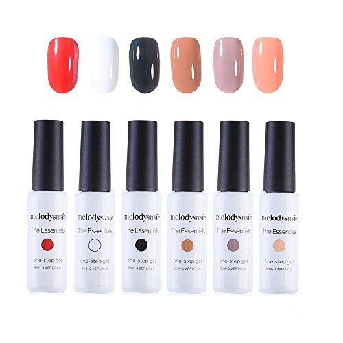 MelodySusie Gel Nail Polish Set, the Essentials 1 Step Durable Nail Gel Kit, Quick Curing by LED UV Nail Lamp, Easy Soak Off, 6 Colors