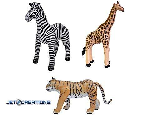 Jet Creations Safari 3pack – Inflatable 36 inch Giraffe, Zebra and -